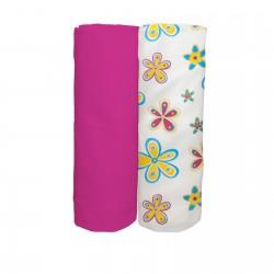 Les Fleurs colorées et Cyclamen / Lot de 2 Draps Housse - 100% Coton linge de lit pour bébé