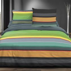 Rayures colorées - 100% Coton Parure de Lit (Housse de couette et Taies d'oreiller)