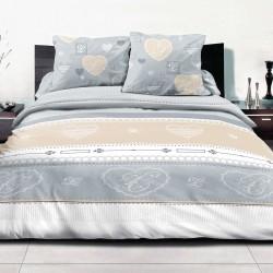 Romantique - 100% Coton Parure de Lit (Housse de couette et Taies d'oreiller)