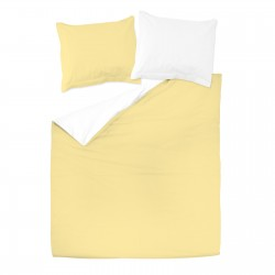 Yellow & White - 100% Cotton Reversible Bed Linen Set (Duvet Cover & Pillow Cases)