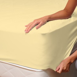 Yellow - Fitted Sheet / 100% Cotton Bedding