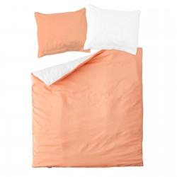 Розово (праскова) & Бяло -100% памук двулицев спален комплект (плик и калъфки)