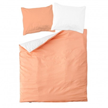 Peach pink & White - 100% Cotton Reversible Bed Linen Set (Duvet Cover & Pillow Cases)