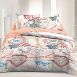 Vintage Love - 100% Cotton Bed Linen Set (Duvet Cover & Pillow Cases)