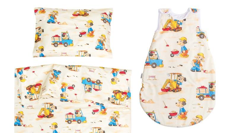 Кучета строители - 100% памук бебешки спален комплект (торба и калъфка)