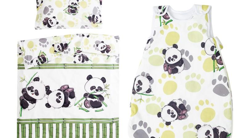 Bambou panda - 100% Coton parure de lit pour bébé (Housse de couette et Taie d'oreiller)