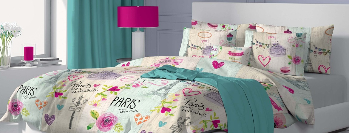 Mon Amour - Bed Linen Set, 100% Cotton (Duvet Cover & Pillow Cases)