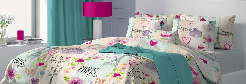 Mon Amour - 100% памук спален комплект (плик и калъфки), многоцветен