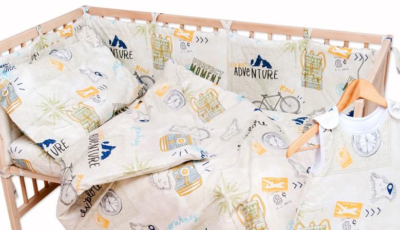 Пътешествие - 100% памук бебешки спален комплект (торба и калъфка)